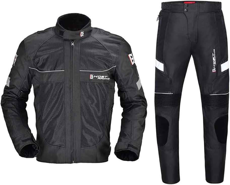 ANTLEP Chaqueta y pantalón de Moto para Hombre Chaqueta Deportiva de Verano para Moto con Armadura, Transpirable y Reflectante, con Forro térmico Desmontable