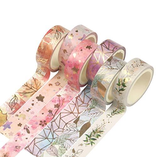 LSWL 6Rolls / Set Flower Foil Washi Klebeband Floral Dekorative Band Scrapbooking Fotoalbum Schule...
