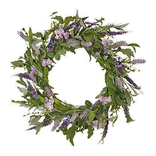 """LAVERNE'S FLOWER 22"""" Front Door Wreath Spring Wreaths for All Seasons Flower Wreath for Outdoor Indoor Window Fireplace Home Decoration, Purple Lavender"""