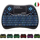 YAGALA Mini Tastiera Retroilluminata con 7 Colori, 2.4GHz Tastiera remota Portatile Wireless con Touchpad per Pad PC Android TV Box, Smart TV IPTV HTPC X360 [Layout Italiano]