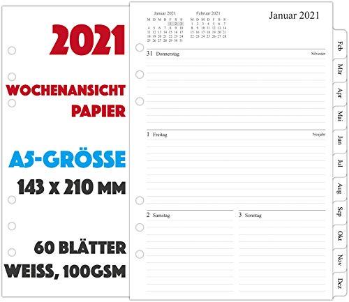 2021 Wochenplaner Einlage A5-1 Woche auf 2 Seiten mit Tabs