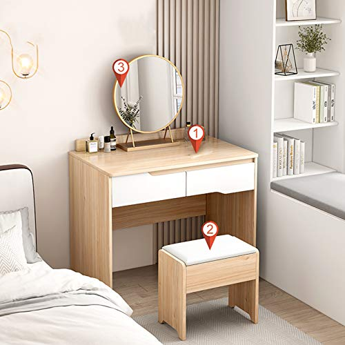 KYSZD-Uhren Schminktisch, mit Hocker 2 Schublade und Spiegel, Schlafzimmer Set Kommode Möbel, für Kosmetik und Make-up, Wohnzimmer Mädchen Geschenk