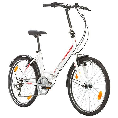 BIKE SPORT LIVE ACTIVE Bikesport Klapprad Fahrrad Folding 24 Zoll Shimano 6 Gang, STVO Beleuchtung, Komplett montiert (Weißer Glanz)