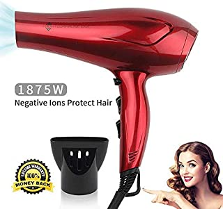 JINRI 1875W Tourmaline Hair Dryer,Salon Negative Ionic Blow Dryer with Concentrator, Lightweight Low Noise DC Motor Fast Dry Hair Blow Dryers Red