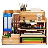 Meipire Organizador de escritorio de madera con cajón, multifuncional, para manualidades, para oficina y escritorios del hogar (estilo C cerezo)