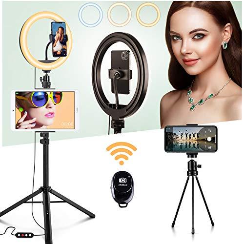 Ring Light Kit,JOYROOM Anneau Lumineux LED avec Trépied, Télécommande,Mini Trépied,10 Niveaux de Luminosité avec 3 Modes d'éclairage pour Smartphone,Caméra, Maquillage,Youtube Vidéo (10'', Blanc)