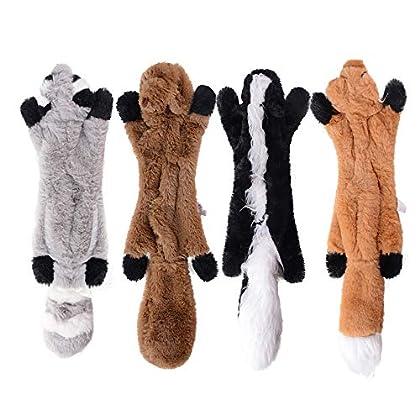 4pcs waschbär Hund Quietschen Spielzeug : Waschbär ,Eichhörnchen, Stinktier, Fuchs [ohne Füllung und extra robust durch doppelte Gewebelage Aus weichem, ungiftigem Plüschmaterial, das beim Kauen oder Spielen von Haustieren keinen Schaden an den Zähn...
