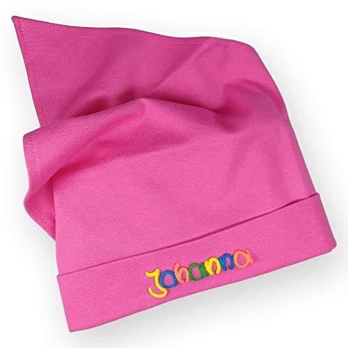 Kopftuch pink mit Namen Größe S oder M Sonnenschutz Babymütze Kinderkopftuch für Mädchen Babys Kleinkinder Mädchenkopftuch