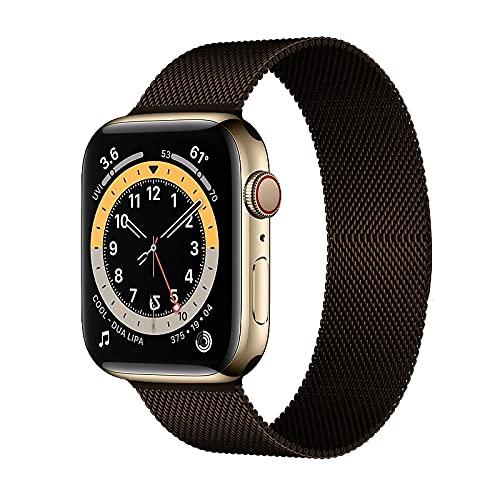 Hspcam Milanese Loop Correa para Apple Watch Band 44mm 40mm 38mm 42mm Acero inoxidable Metal pulsera correa iWatch series 6 5 4 3 se 2 1 (marrón, 42mm o 44mm)