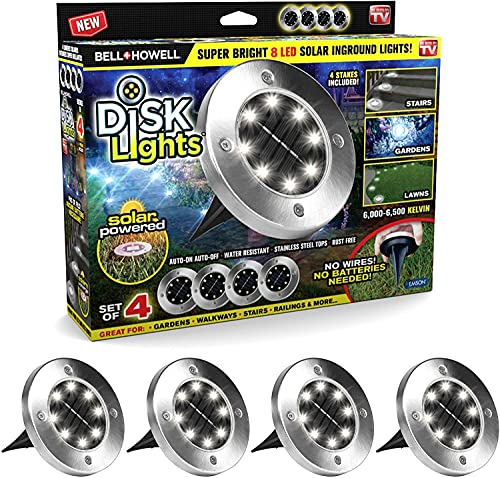 Disk Lights Deluxe by Bell+Howell Super Bright 8-LED Bulbs Solar-Powered Auto On/Off Outdoor Lighting, Waterproof Rust-Free Staineless Tops for Landscape, Garden, Pathway As Seen On TV (Set of 4)