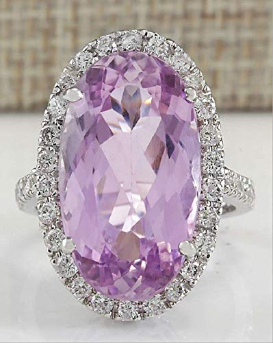 MAIHAO Fashion Ring Women 925 Silver Oval Cut Pink Kunzite Ring Engagement Wedding Band Ring Size 6-10 (US Code 8)