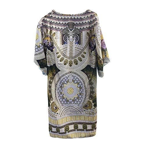 Langarmkleid Vintage Minikleid Damen Strandkleid Boho Tunika Sommerkleid Frauen V-Ausschnitt Stranddruck Loose T-Shirt Kleid Freizeit auf Urlaub Freizeitkleid (A-Gelb, M)