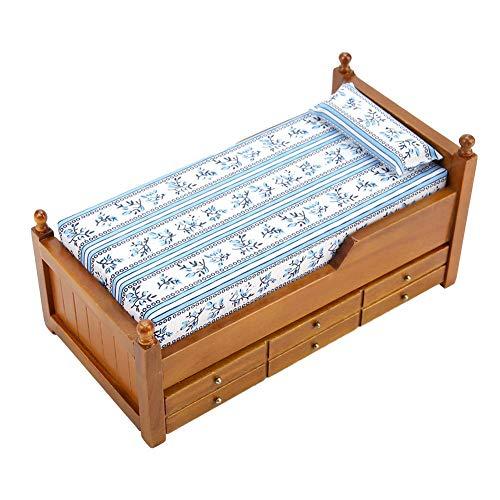 Ponacat Miniatur-Puppenhausbett aus Holz Luxuriöses Puppenhausbett aus Kaliko Critters mit Schublade Puppenhausmöbeln Und Dekor