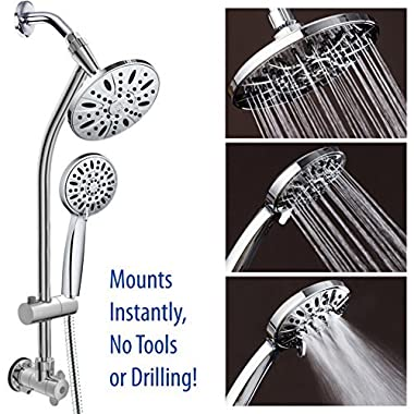 Chrome Finish 28  Drill-Free Stainless Steel Slide Bar Combo with 7  Rain Showerhead, 6-setting Hand Shower and Revolutionary Low-Reach 3-way Diverter For Easy Reach. Dual Shower Head Spa System