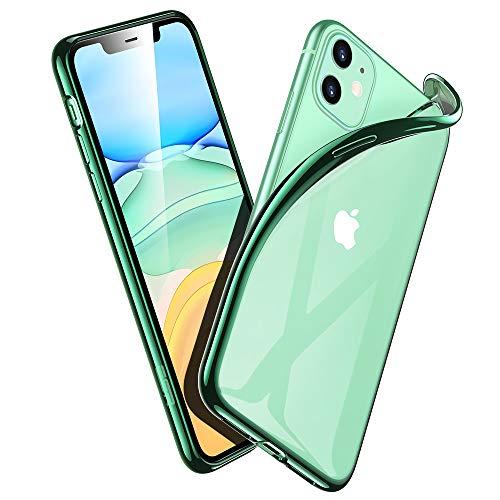ESR Klar Silikon Kompatibel mit iPhone 11 Hülle - Dünne weiche TPU Schutzhülle - Flexible Slim iPhone 11 Hülle mit Mikrodot-Muster [Anti-Scratch ] für iPhone 11-Dunkelgrüner Rahmen