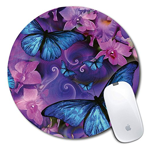 Personalized Round Mouse Pad, Printed Butterfly Pattern, Non-Slip Rubber Comfortable Customized Computer Mouse Pad (7.87x7.87inch)