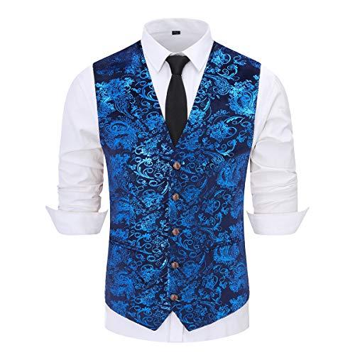 Mens Paisley Jacquard Suit Gilet Monopetto Vest Vest Vest Slim Fit Button Down Prom Abito Formale Gilet Gilet