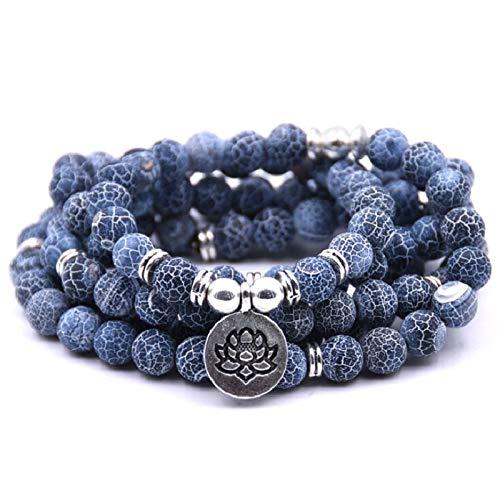 LEIGAGA 8mm Natuurlijke Blauwe Textuur Steen 108 Mala Kralen Armband Of Ketting Met Lotus Bedel Mannelijke Kralen Armband