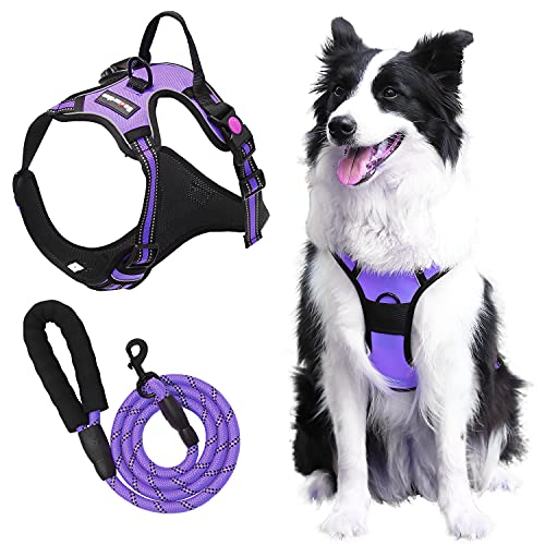 Esdartlus Dog Harness and Leash Set, NO Pull Adjustable Breathable Soft Padded Vest Harness, Reflective Oxford Pet Harness with Training Handle Dog Vest for Small to Large Dogs (Purple, M)