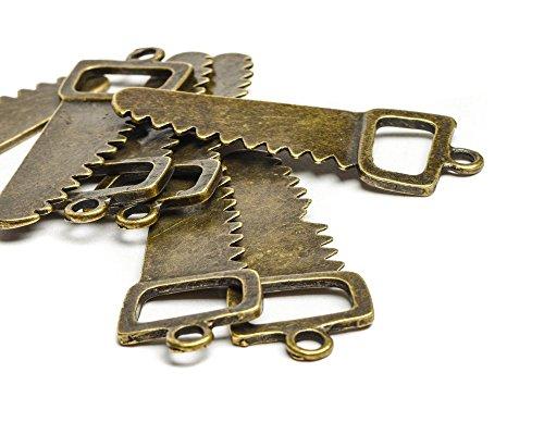 Beads Unlimited 51 x 20 mm METAL zaag Steampunk 10 stuks bladen, goud antiek