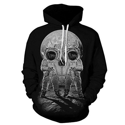 Comeon Homme Casual Sweats à Capuche Pull à Manches Longues Sweat-Shirts Hiver Fantaisie Hoodie avec Pochette (Black Skull, L/XL)