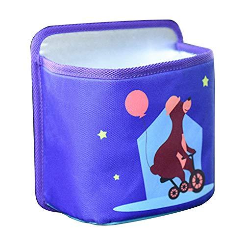 Gorgeri Car Portable Multifunktionale Cartoon Hängende Mülltonne Aufbewahrungsbox Auto Mülltonne Auto Mülltonne(Lila Bär)