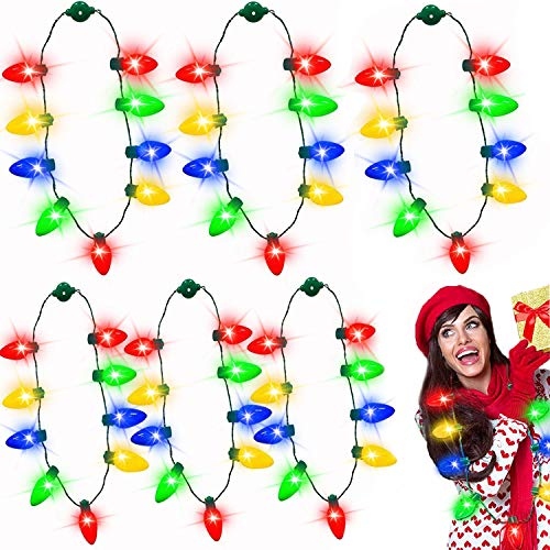 iGeeKid 10 Pack Christmas LED Light Up Bulb Necklace New Year Eve Christmas Holiday Accessories Party Favors Necklace for Kids Men Women, Christmas Decoration Funny Party Supplies