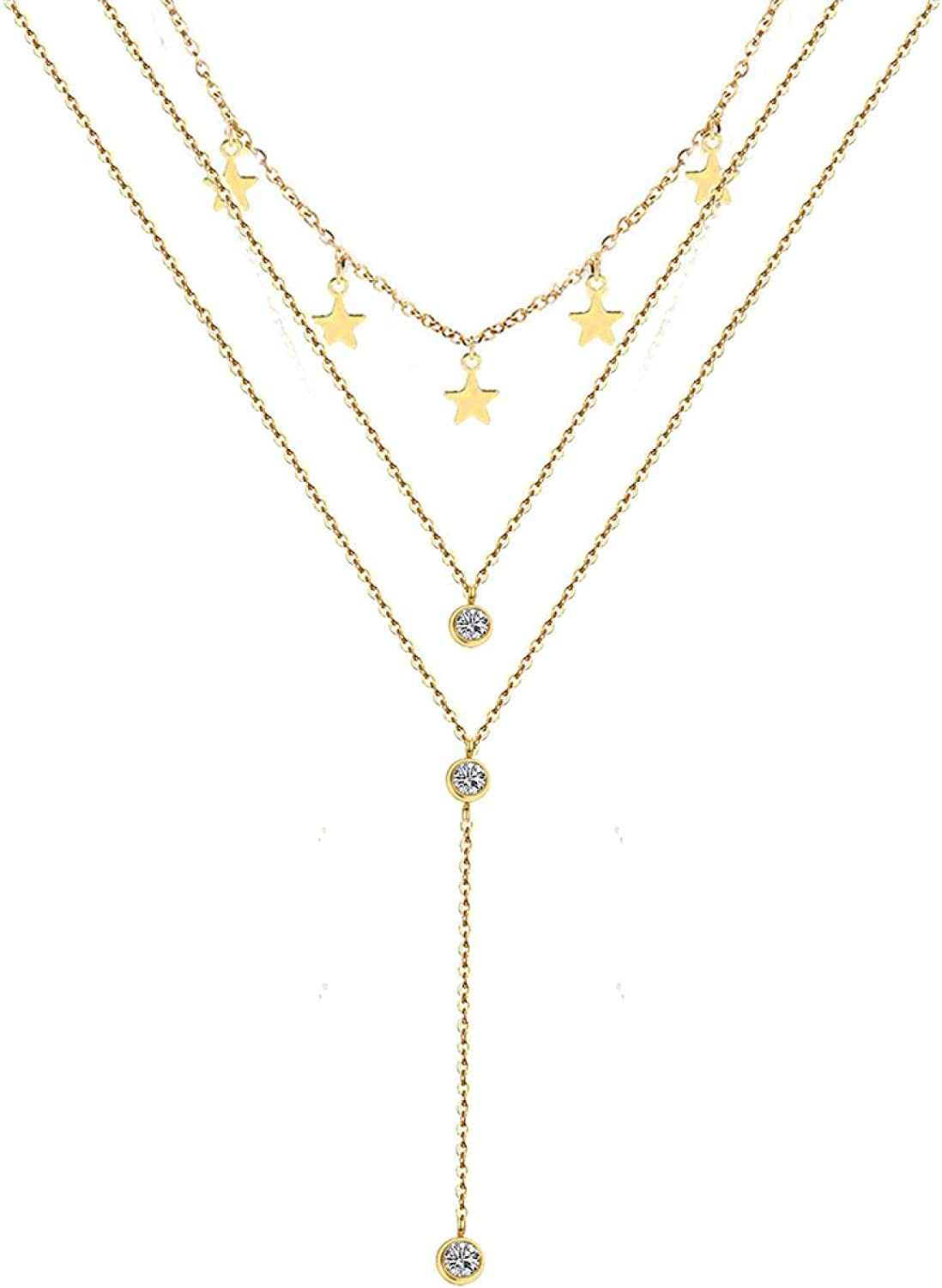 Naswi Stainless Steel Choker Collar Necklaces 3 Layer Crystal Star Pendant Necklaces for Women Multilayer Star Necklaces