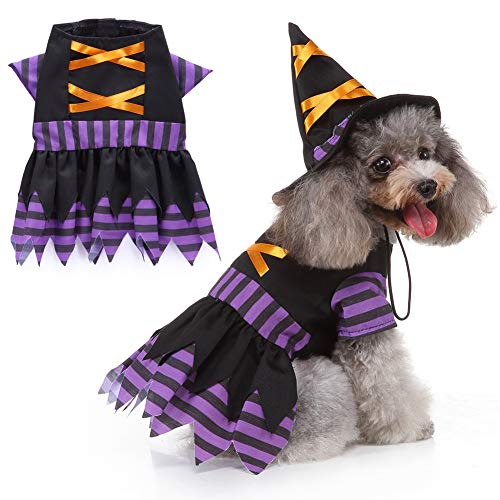 Dog Wizard Costume - Purple Halloween Costumes for Dogs Dog Clothes Elk Bell Wizard Cosplay Costume...