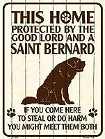 Smart Blonde ビンテージ風 英語版 おしゃれな 猛犬注意の看板 プレート 犬がいます 屋外OK 錆びないアルミ製 (レギュラー (23x30.5cm), セントバーナード) / P-1686