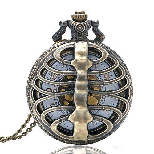 XVCHQIN Fashion Skeleton Spine Ribs Hollow Quartz Pocket Watch Necklace Pendant Vintage Clock Chain Mens Womens Gifts,bronze