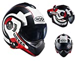 Roof Casque Boxer V8, Cible White-red Mat, taille L