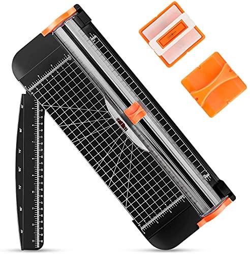 POWERAXIS Papier Schneidegerät,A4 Papierschneider mit 3 Ersatzklingen,Schneidegerät für Papier mit Erweiterungslineal,Scrapbooking Werkzeug zum Schneiden von Papier,Fotos oder Etiketten,Büro