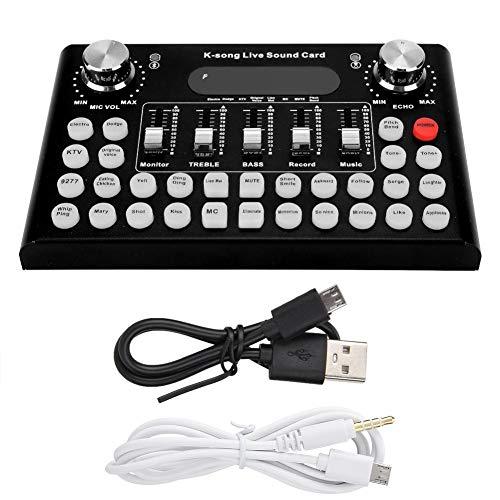 Keen so USB-geluidskaart, 1200 mA DC 5 V/1 A USB-geluidskaart pc-surround-geluidskaart mobiele telefoon computer bluetooth geluidskaart met 18 speciale effecten en 12 elektronische geluiden