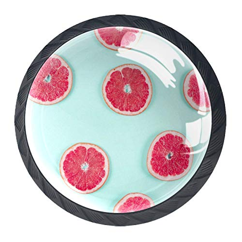 4 pomos para gabinetes de cocina, bonitos tiradores cuadrados de cristal transparente con tornillos para cocina, aparador, armario, baño, armario, ropero, rebanada de pomelo
