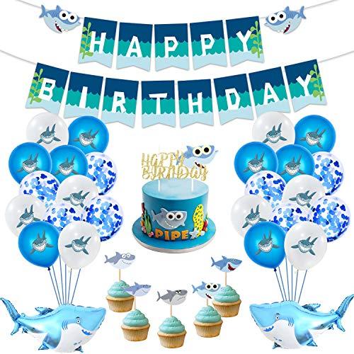 MIFIRE Decoración de Tiburón para Fiestas de cumpleaños, 1 Gran Adorno de Pastel, 25 Adornos de Cupcakes, 2 Globos de tiburón, 1 banderola, Temas de tiburón Deco de Cumpleaños para niños