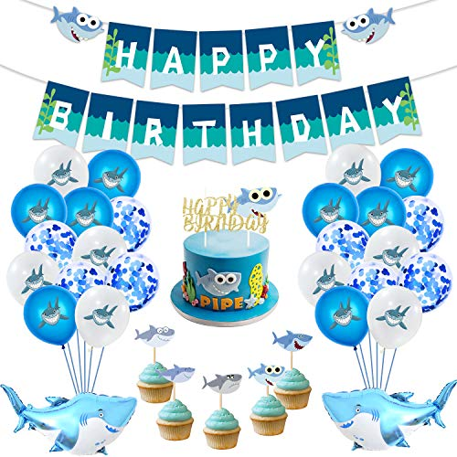 MIFIRE Geburtstagdeko Party Deko Hai-Thema Set mit 1 Hai Happy Birthday Girlande, 26pcs Luftballons, 20er Tortenstecker, Kindergeburtstag Partyset für Baby Mädchen Jungen (Set 49 Stück)