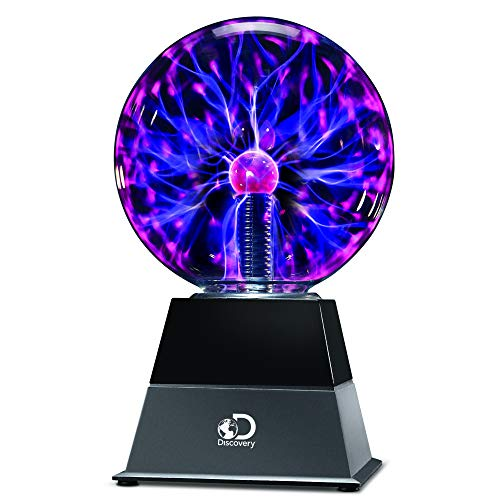 Discovery Kids 6' Plasma Globe Lamp with Interactive Electronic Touch and Sound Sensitive Lightning and Tesla Coil, Includes AC Adapter, Glass STEM Lava Lamp-Style Light for Desk, Kids Room, and More