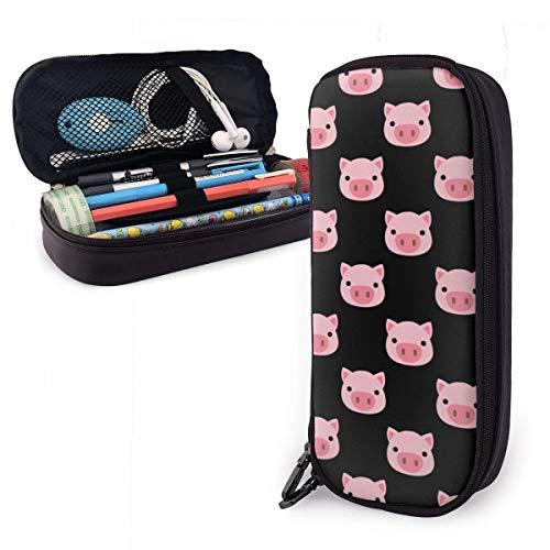 Divertido estuche de piel sintética con forma de cerdo rosa y gran capacidad, ideal para lápices y bolígrafos