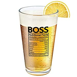 NOVELTY BOSSES DAY GIFT: Our Boss Nutritional Facts Beer Glass will be a novelty gift for men, women, boss, manger, coworker and friend. This boss beer glass would make a surprise on Bosses Day, birthday, Christmas, leaving and retirement party. FUNN...