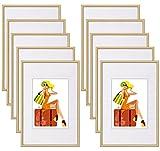 WOLTU #315 Bilderrahmen Bildergalerie Fotogalerie mit Passepartout, Foto Collage Galerie, Kunststoff und Echtglas, New Life Style,Gold, 10x15 cm, 10er Set