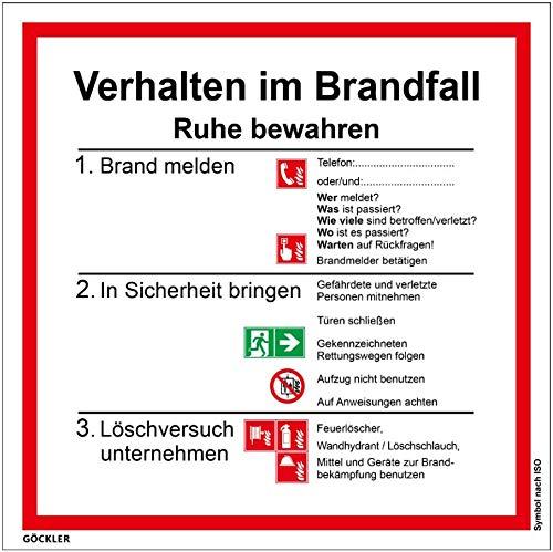 Verhalten im Brandfall Schild Kunststoffplatte mit Selbstklebender Schaumschicht, Symbol nach ISO 7010 (20 x 20 cm)
