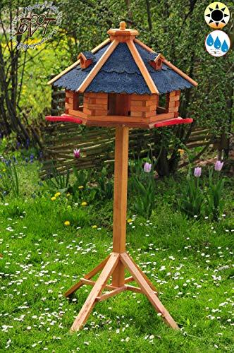ÖLBAUM Vogelhaus, groß, XL mit Landebahn + Bitumen, Massivholz,wetterfest, mit Ständer/mit Standfuß und Silo,Futtersilo - Gartendeko aus Holz blau mit Ständer BGA50blMS blau grau Vogelhäuschen,