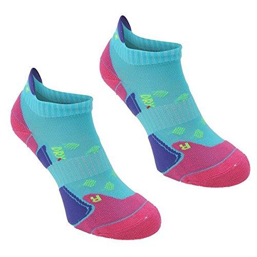 Karrimor Womens 2 Pack Running Socks Turquoise/Fusch Ladies 4-8