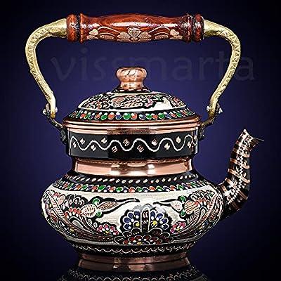 Copper Turkish Teapot Tea Kettle Pots Set for Stovetop - Whistling Infuser for Serving and Drinking Tea Vintage Housewarming Gift