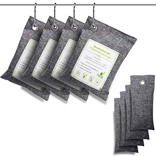 Air Purifying Bags(8 Pack - 4x200g+4x50g) with 4 S Hooks,Charcoal Bags Odor Absorber,Shoe Deodorizer,Bamboo Activated Charcoal Air Purifier Bags for Home,Car,Closet,Pet Areas,Basement etc.