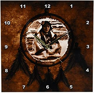 3dRose dpp_52256_1 Brown Native American Wolf Based on a Painting by Martin Basmajian Wall Clock 10 by 10-Inch [並行輸入品]