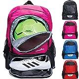 Athletico Jugend Fußball Tasche - Rucksack & Taschen für Basketball, Volleyball & Fußball - für Kinder, Jugendliche, Jungen, Mädchen - inkl. separatem Cleat und Ballfach, Rose