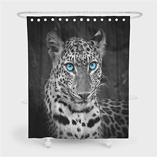 Stillshine. 3D Tier Leopard Themen Duschvorhang Wasserdicht Stoff Anti-Mehltau, Enthält 12 Duschvorhangringe Waschbar Schwarz Grau Blau Duschvorhang Leopard Muster (Leopard 5,150x180 cm)