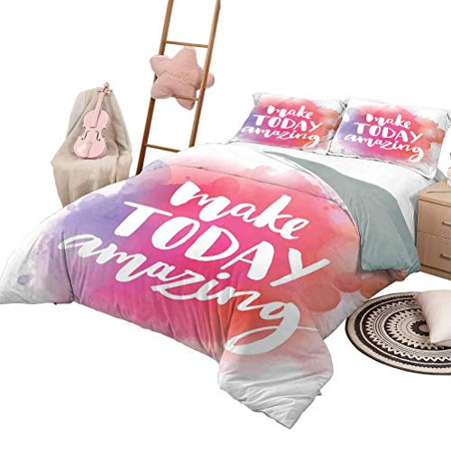 DayDayFun Couvre-lit Ensemble de Couvre-lit Couvre-lit Couvre-lit pour Toutes Les Saisons Make Today Amazing Citation inspirante Coloré Aquarelle Splash Fond Queen Size Rouge Violet Blanc